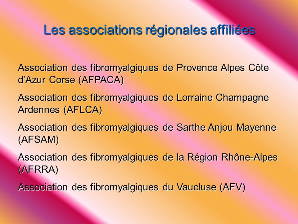 Les associations régionales affiliées