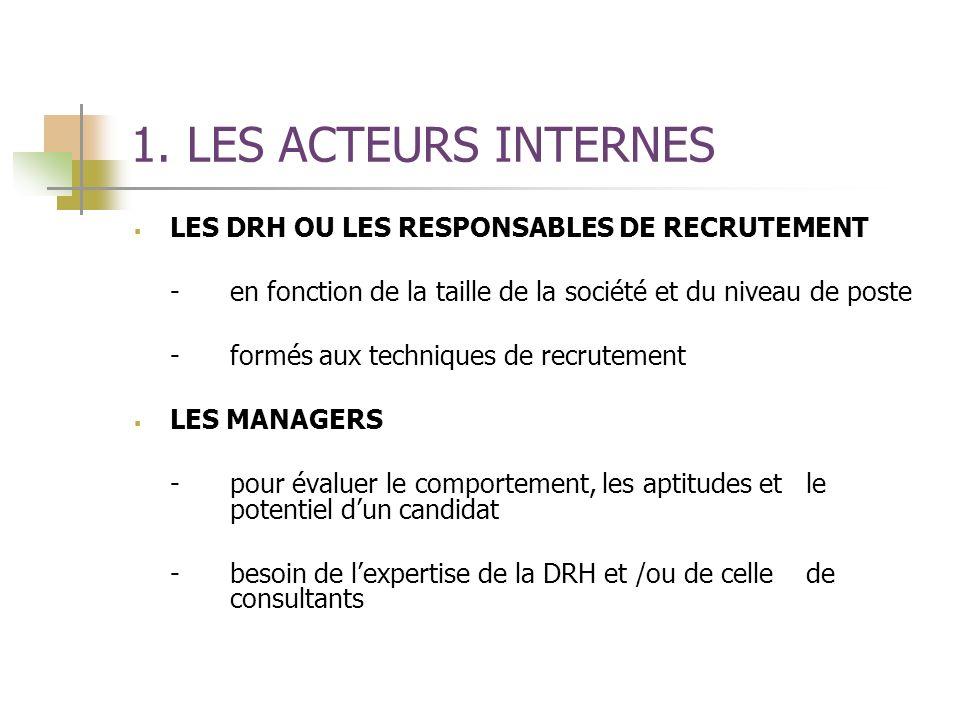 1. LES ACTEURS INTERNES LES DRH OU LES RESPONSABLES DE RECRUTEMENT