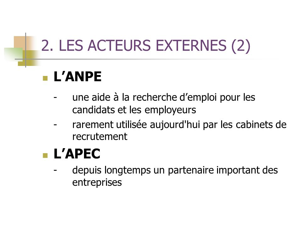 2. LES ACTEURS EXTERNES (2)