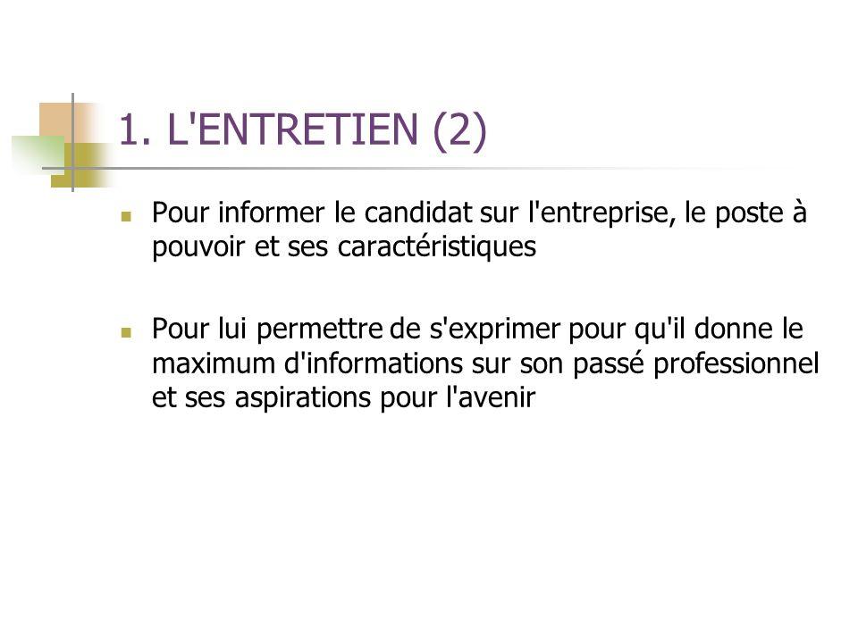 1. L ENTRETIEN (2) Pour informer le candidat sur l entreprise, le poste à pouvoir et ses caractéristiques.