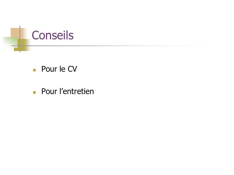Conseils Pour le CV Pour l'entretien