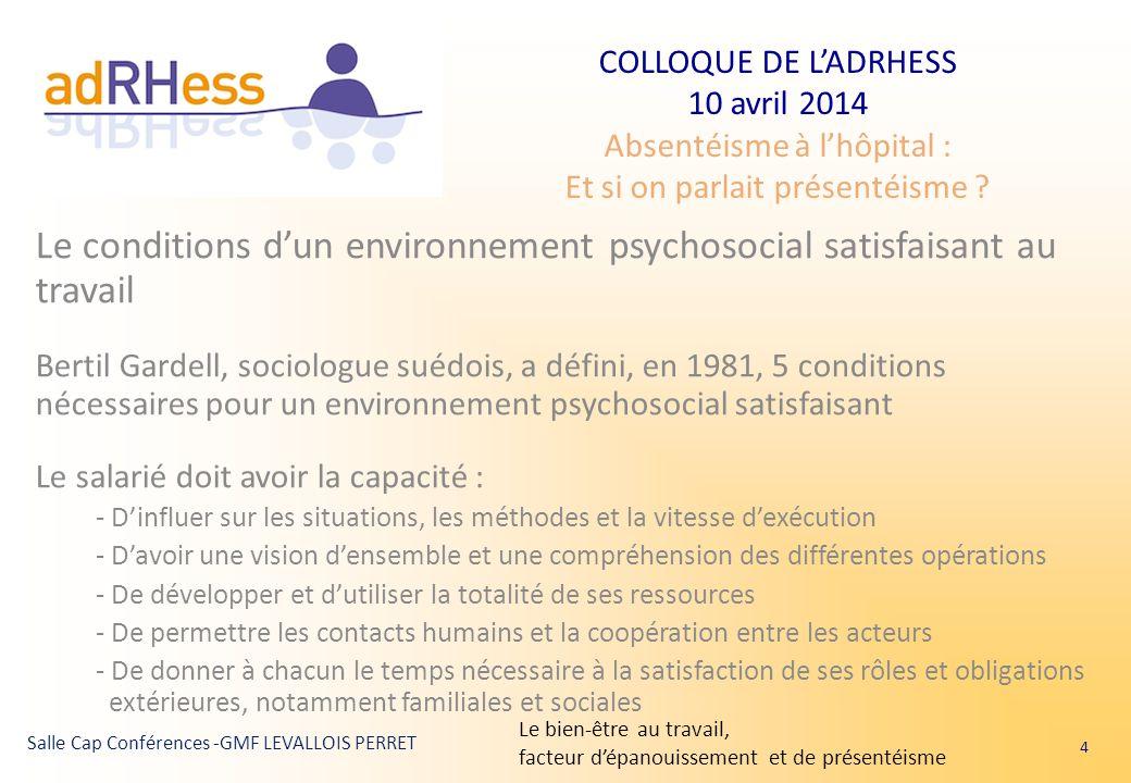 Le conditions d'un environnement psychosocial satisfaisant au travail