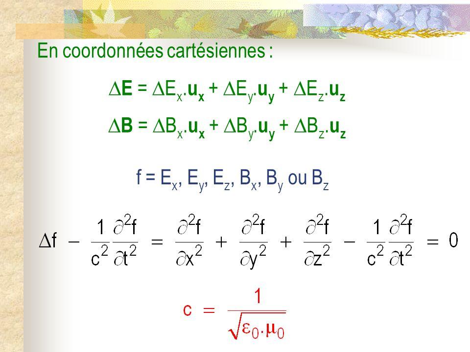 En coordonnées cartésiennes : E = Ex.ux + Ey.uy + Ez.uz