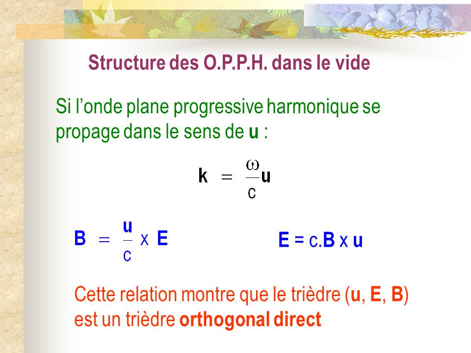 Structure des O.P.P.H. dans le vide