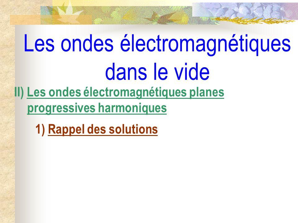 Les ondes électromagnétiques dans le vide