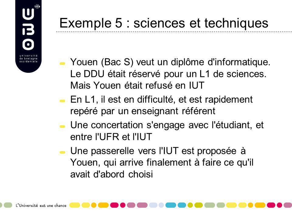 Exemple 5 : sciences et techniques