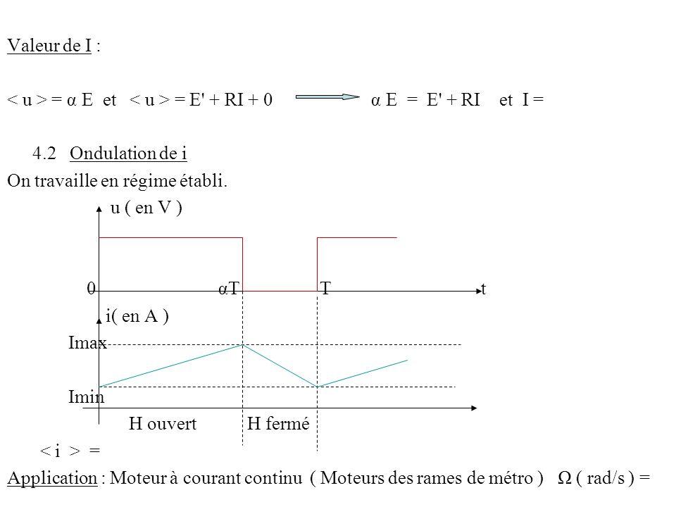 Valeur de I : < u > = α E et < u > = E + RI + 0 α E = E + RI et I = 4.2 Ondulation de i.