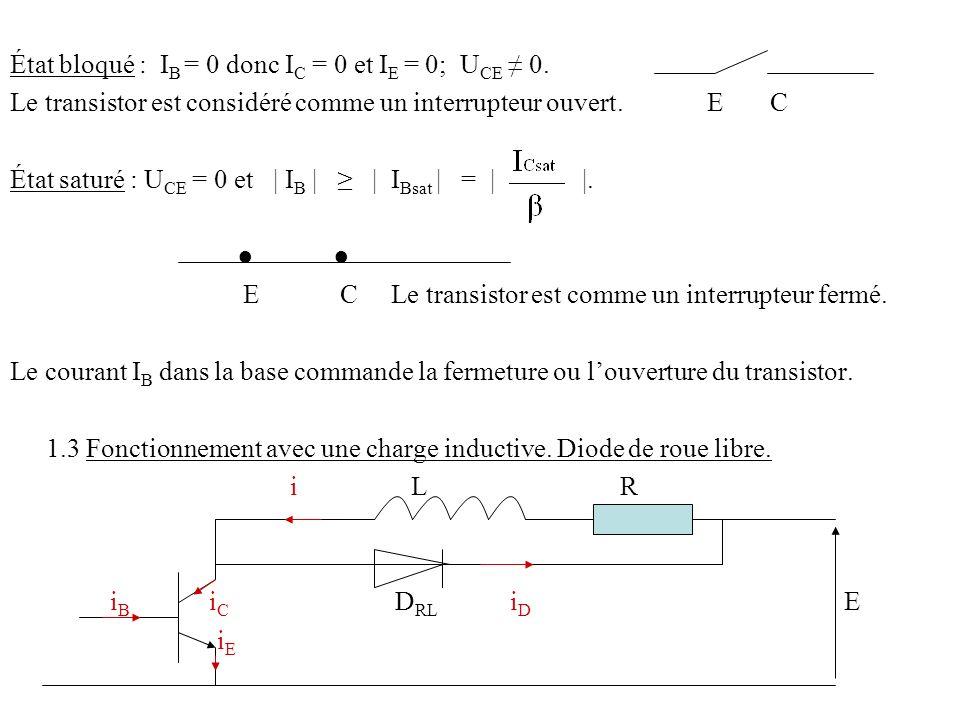 État bloqué : IB = 0 donc IC = 0 et IE = 0; UCE ≠ 0.