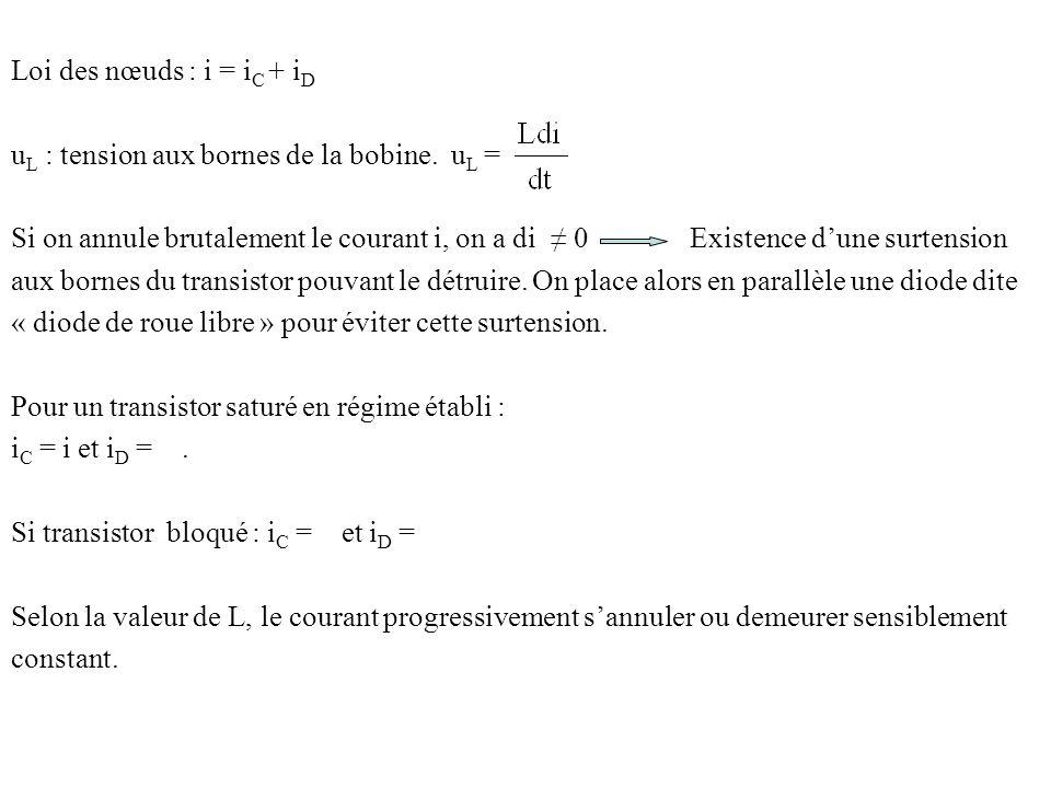 Loi des nœuds : i = iC + iD uL : tension aux bornes de la bobine. uL =