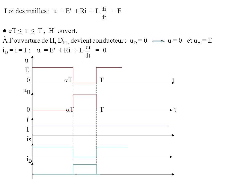 Loi des mailles : u = E + Ri + L = E