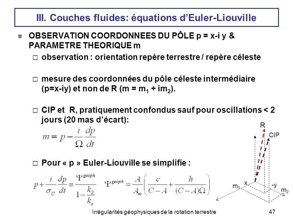 III. Couches fluides: équations d'Euler-Liouville