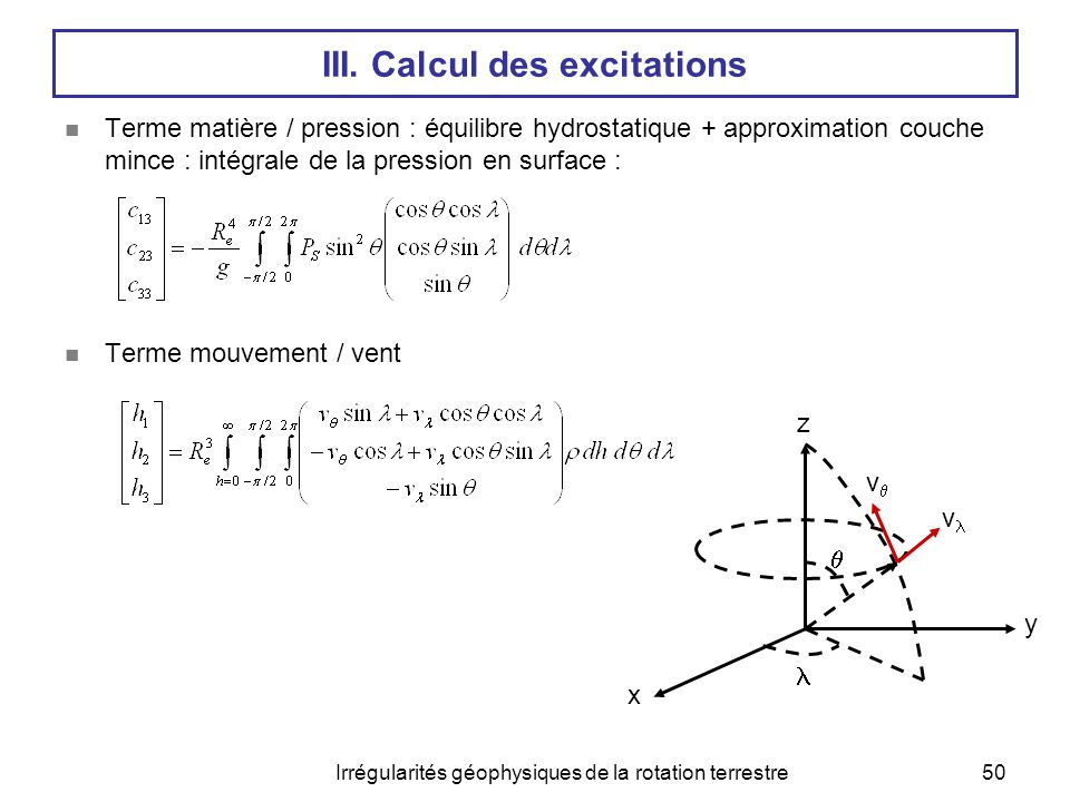 III. Calcul des excitations