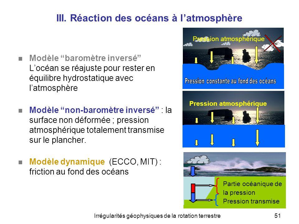 III. Réaction des océans à l'atmosphère