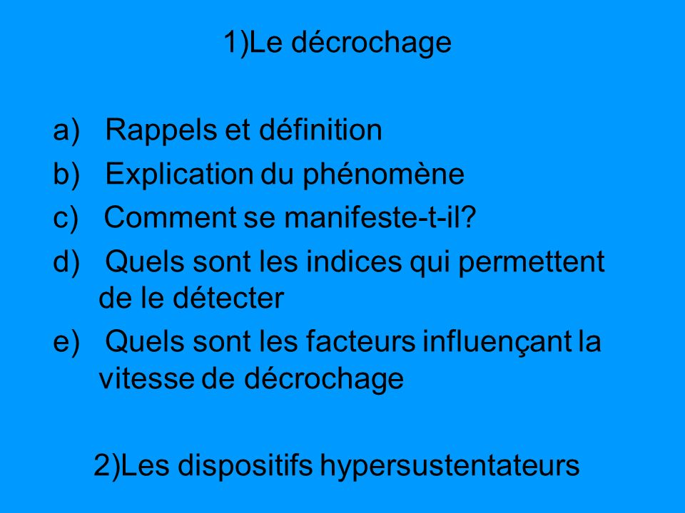 2)Les dispositifs hypersustentateurs