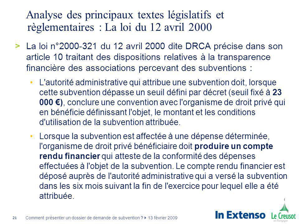 Analyse des principaux textes législatifs et règlementaires : La loi du 12 avril 2000