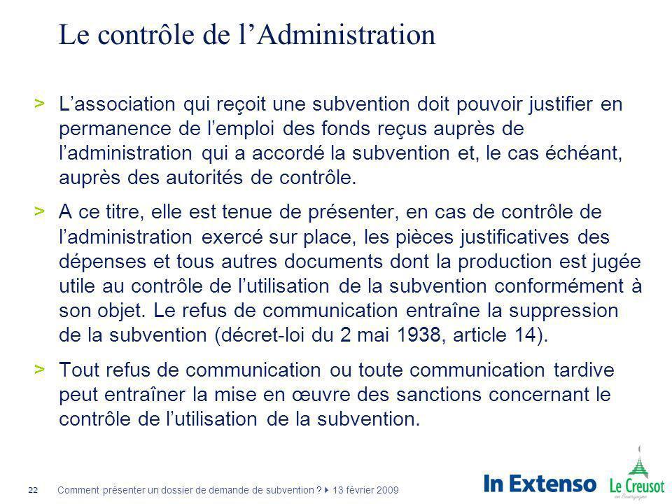 Le contrôle de l'Administration