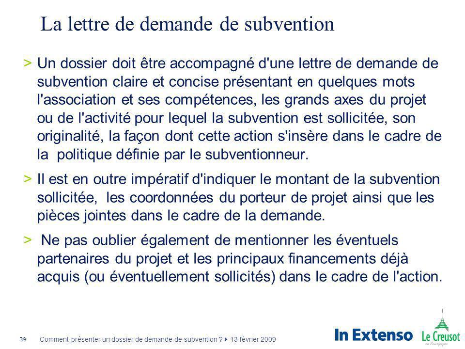 La lettre de demande de subvention