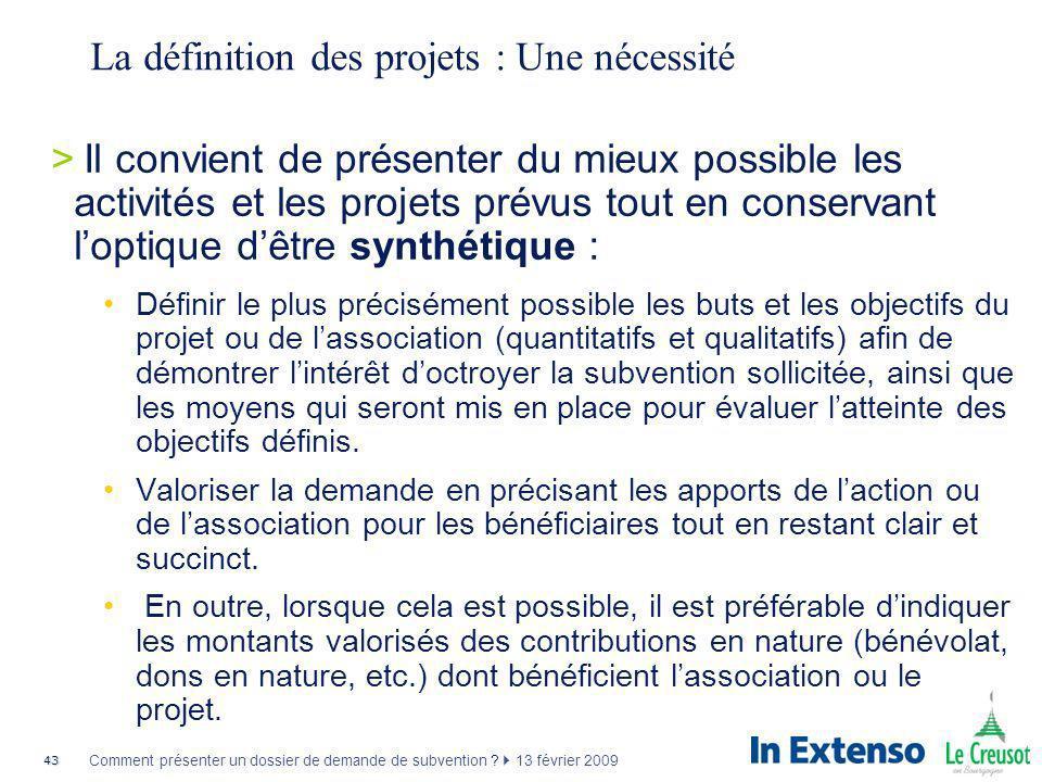 La définition des projets : Une nécessité