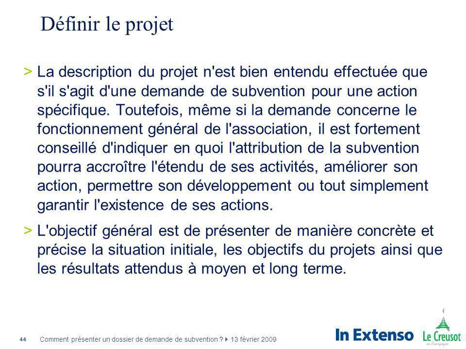 Définir le projet
