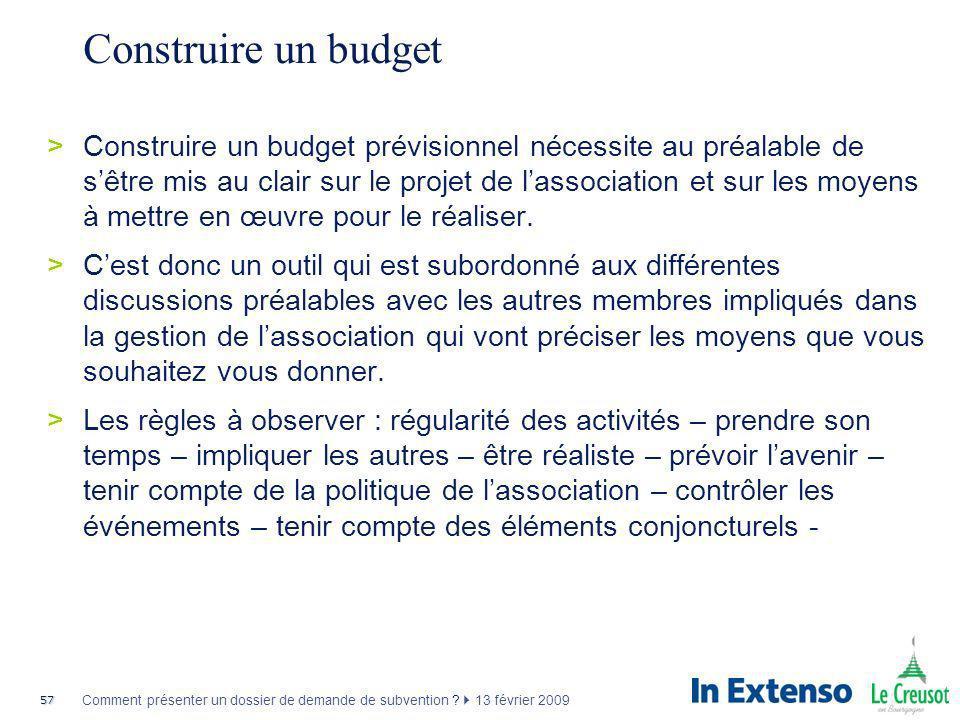 Construire un budget