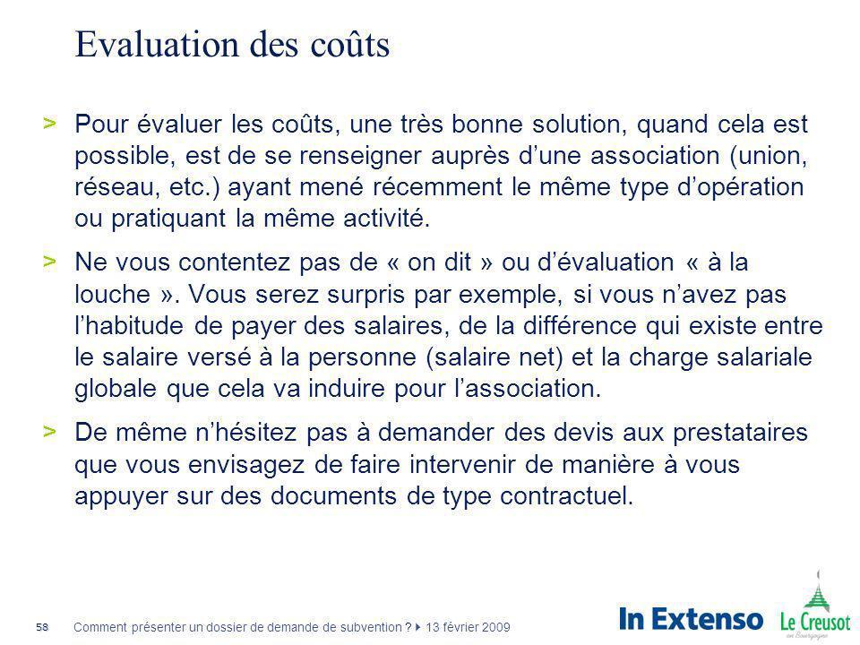Evaluation des coûts
