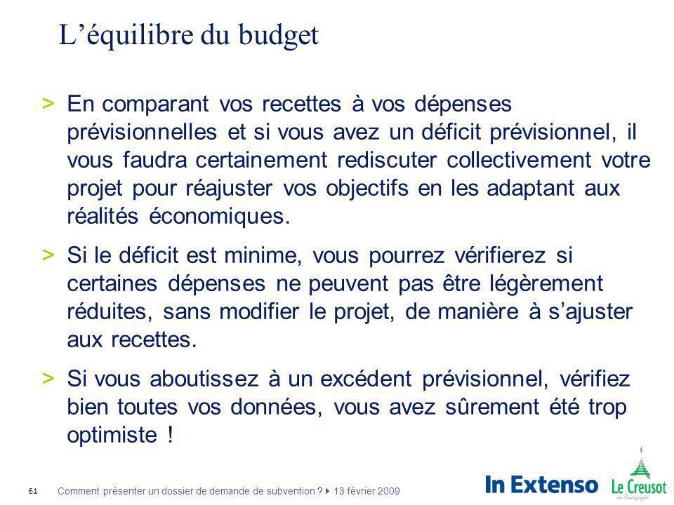 L'équilibre du budget