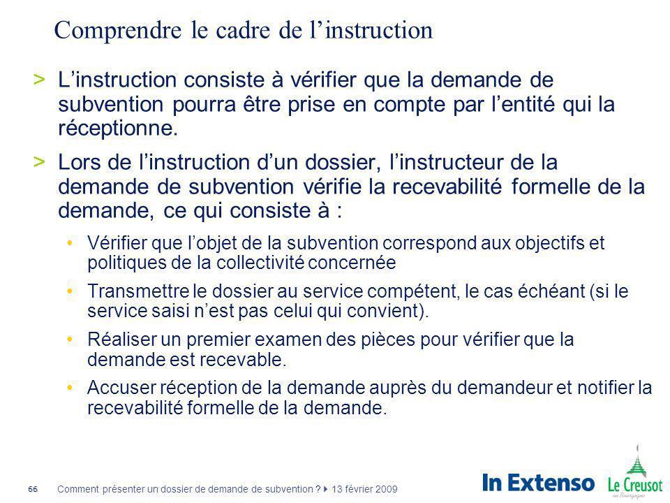 Comprendre le cadre de l'instruction