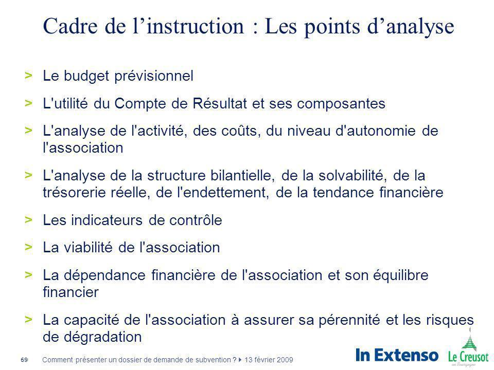 Cadre de l'instruction : Les points d'analyse