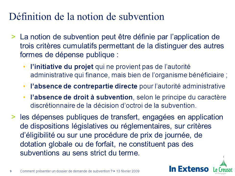 Définition de la notion de subvention