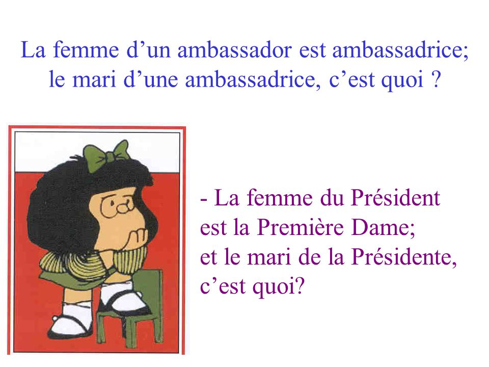 La femme d'un ambassador est ambassadrice; le mari d'une ambassadrice, c'est quoi
