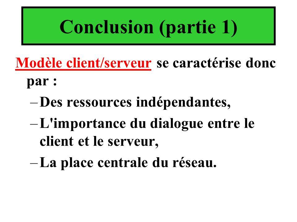 Conclusion (partie 1) Modèle client/serveur se caractérise donc par :