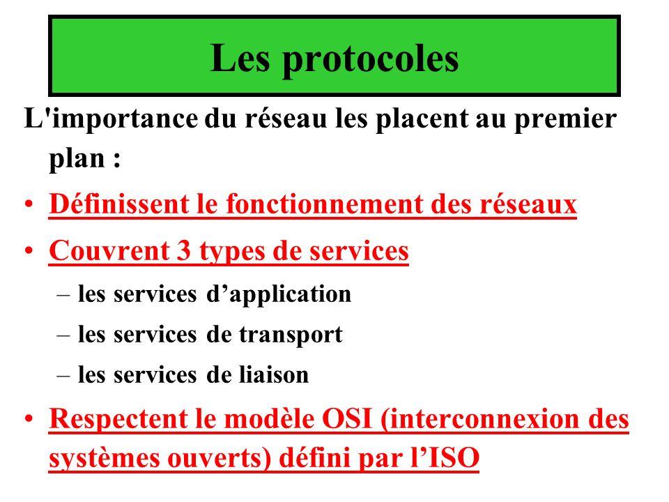 Les protocoles L importance du réseau les placent au premier plan :