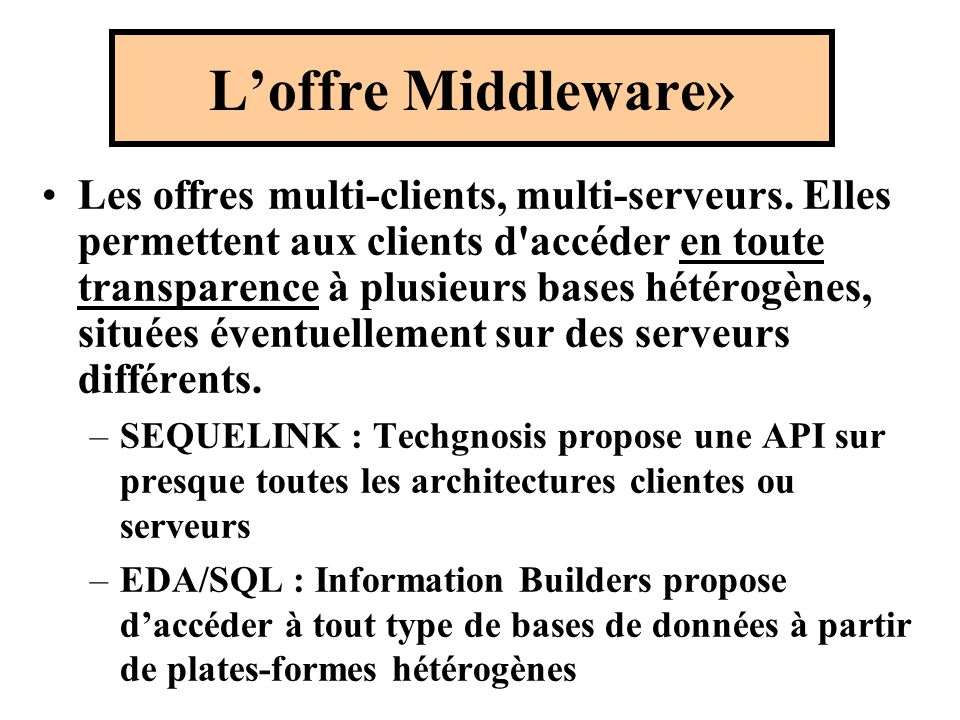 L'offre Middleware»