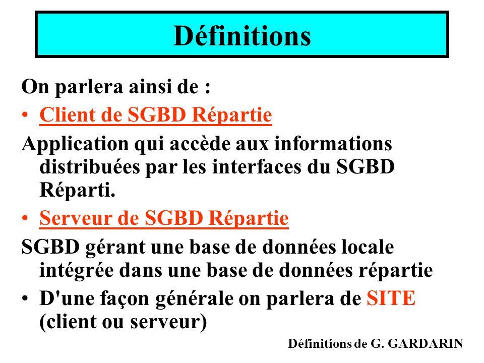 Définitions On parlera ainsi de : Client de SGBD Répartie