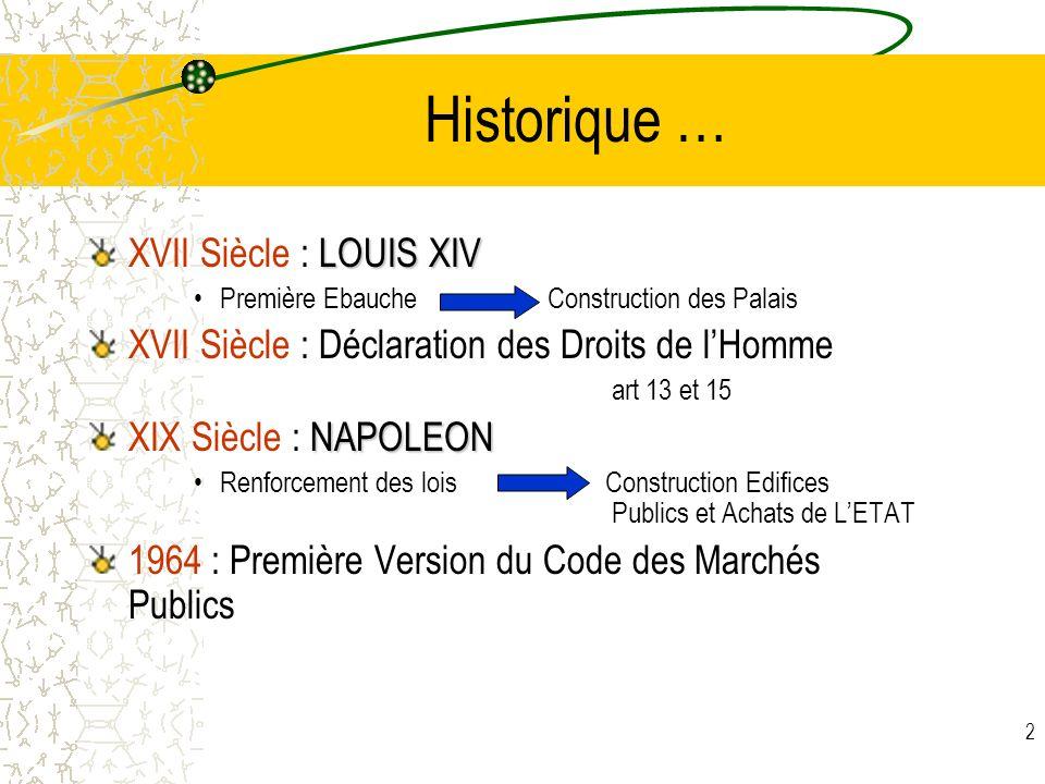 Historique … XVII Siècle : LOUIS XIV