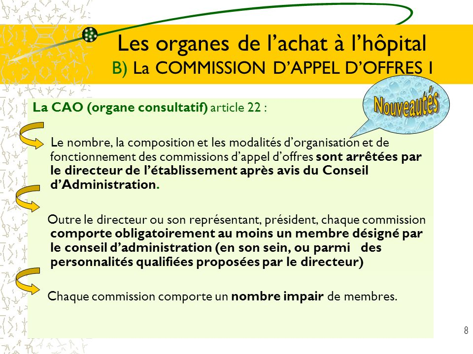 Les organes de l'achat à l'hôpital B) La COMMISSION D'APPEL D'OFFRES I