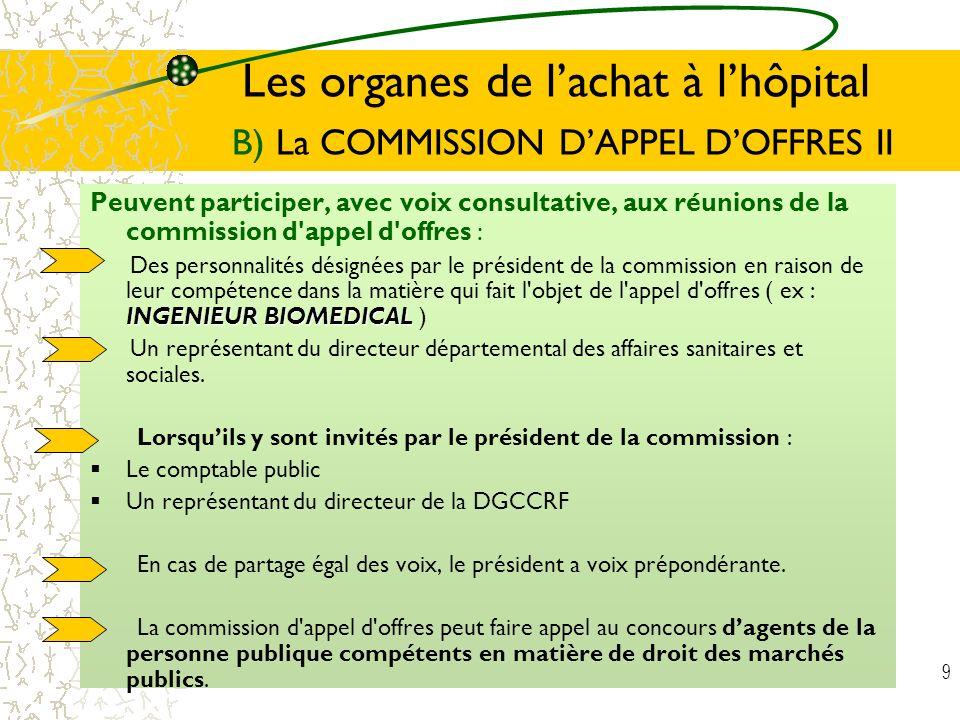 Les organes de l'achat à l'hôpital B) La COMMISSION D'APPEL D'OFFRES II