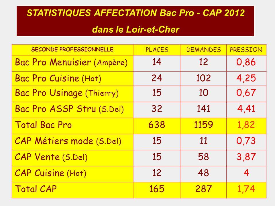 STATISTIQUES AFFECTATION Bac Pro - CAP 2012 SECONDE PROFESSIONNELLE