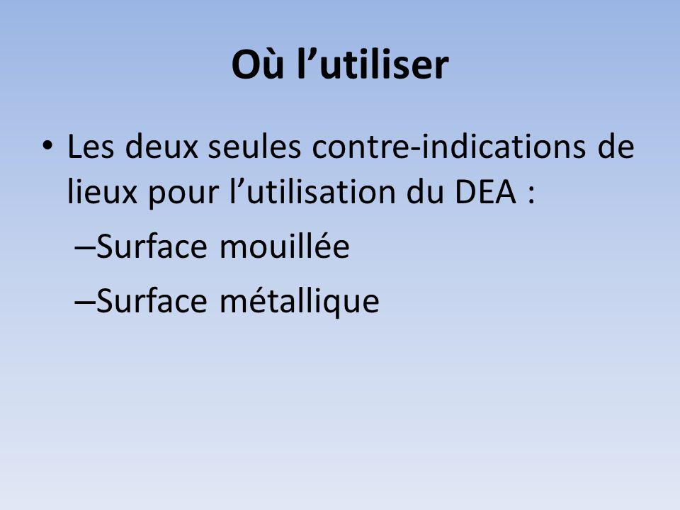 Où l'utiliser Les deux seules contre-indications de lieux pour l'utilisation du DEA : Surface mouillée.