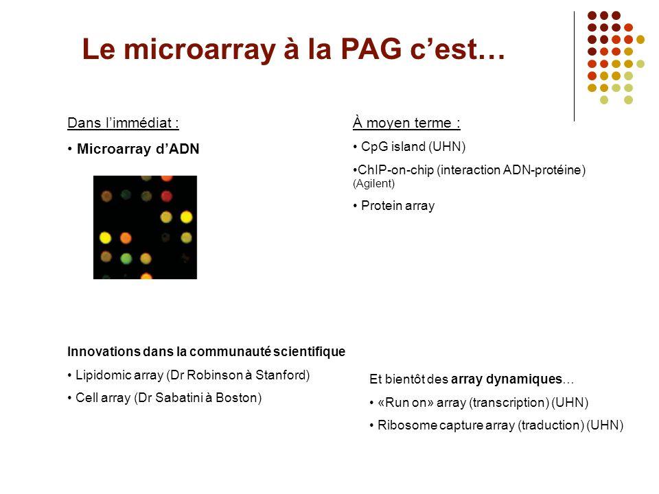 Le microarray à la PAG c'est…