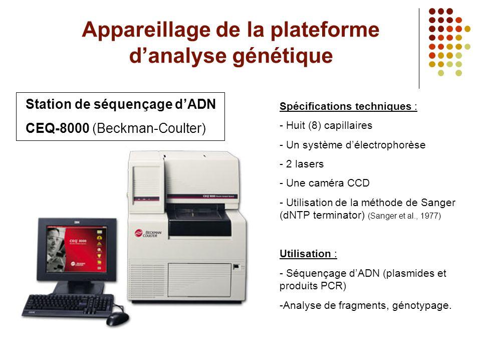 Appareillage de la plateforme d'analyse génétique