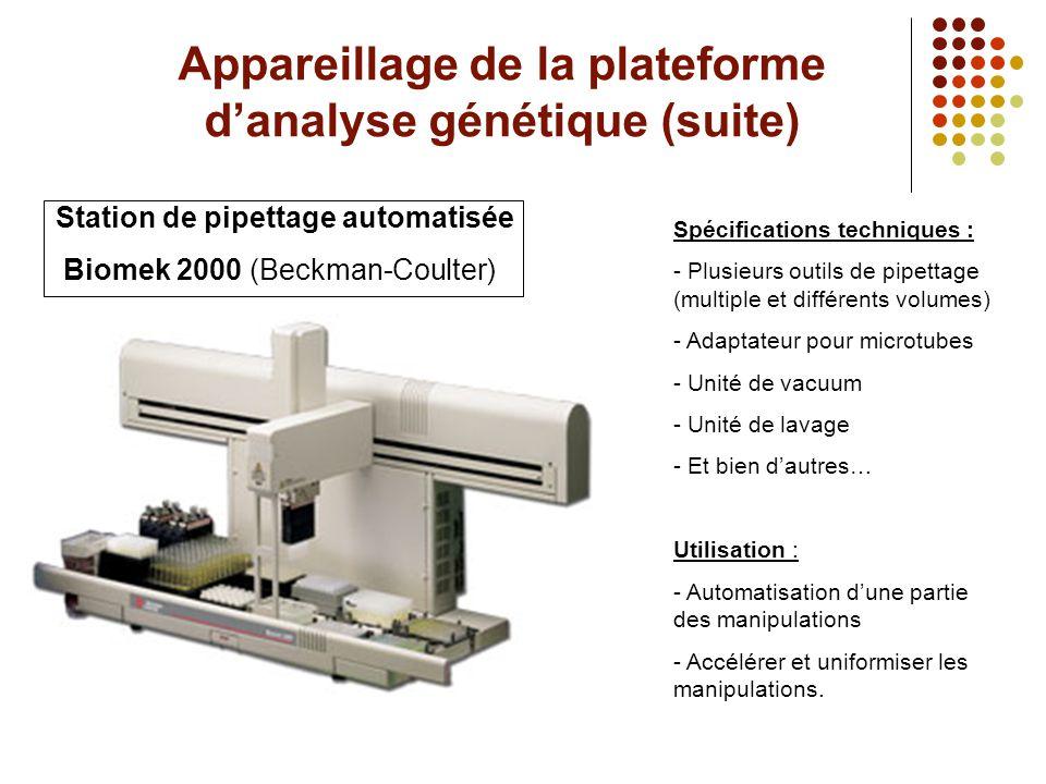 Appareillage de la plateforme d'analyse génétique (suite)