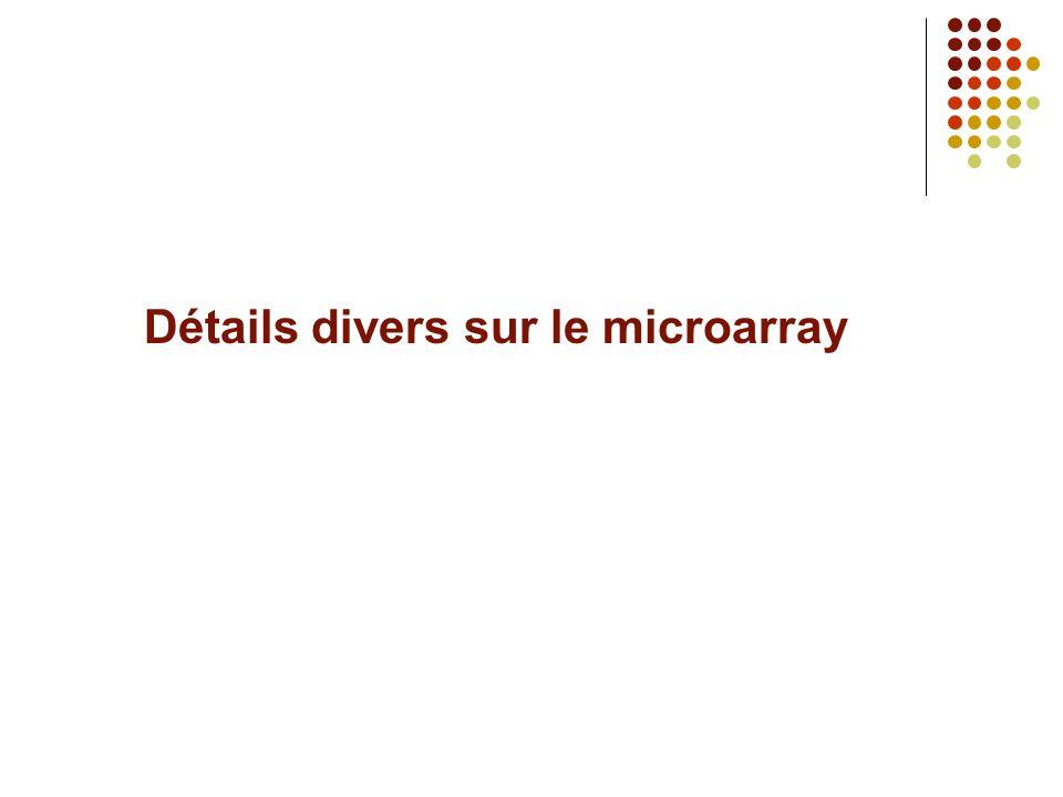Détails divers sur le microarray