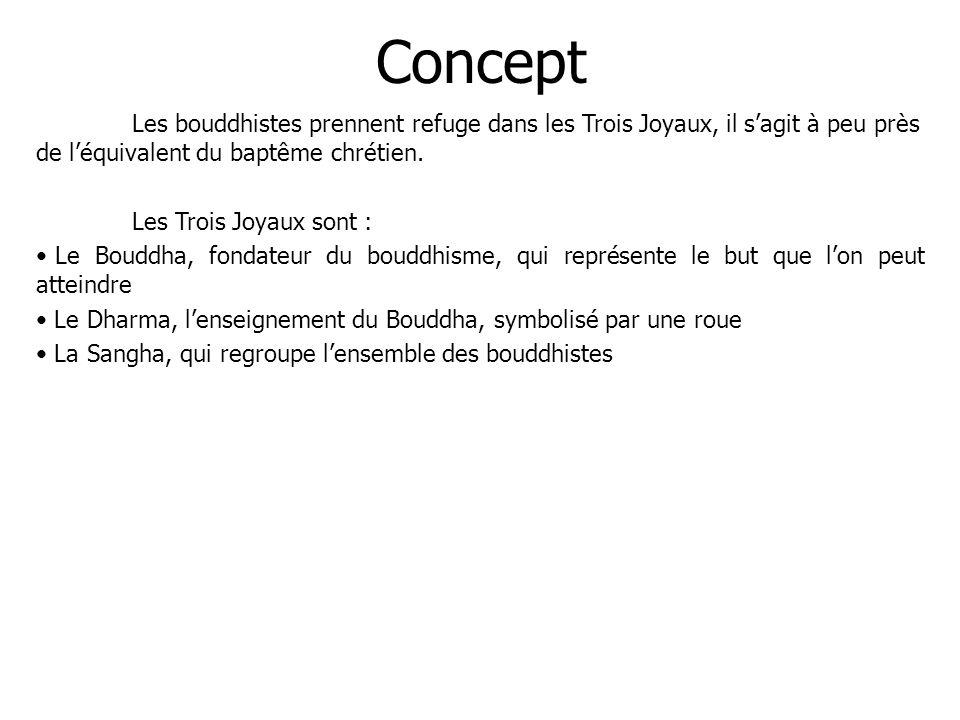 Concept Les bouddhistes prennent refuge dans les Trois Joyaux, il s'agit à peu près de l'équivalent du baptême chrétien.