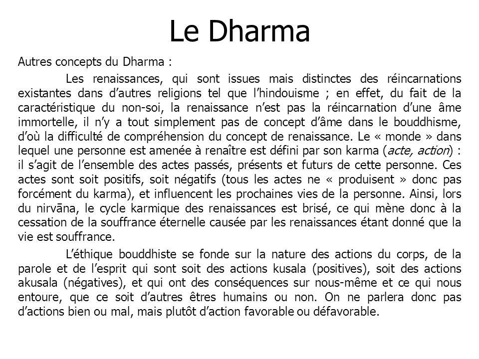 Le Dharma Autres concepts du Dharma :