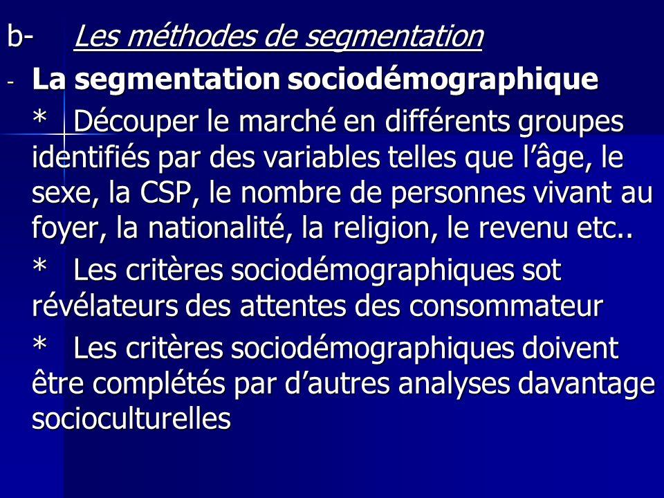 b- Les méthodes de segmentation