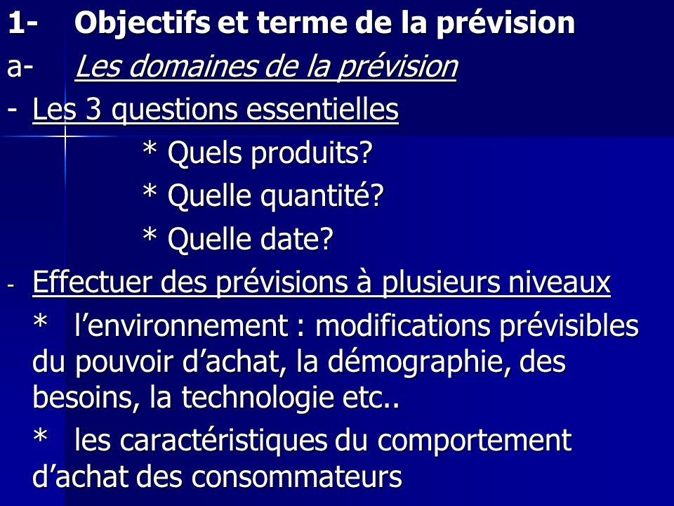 1- Objectifs et terme de la prévision