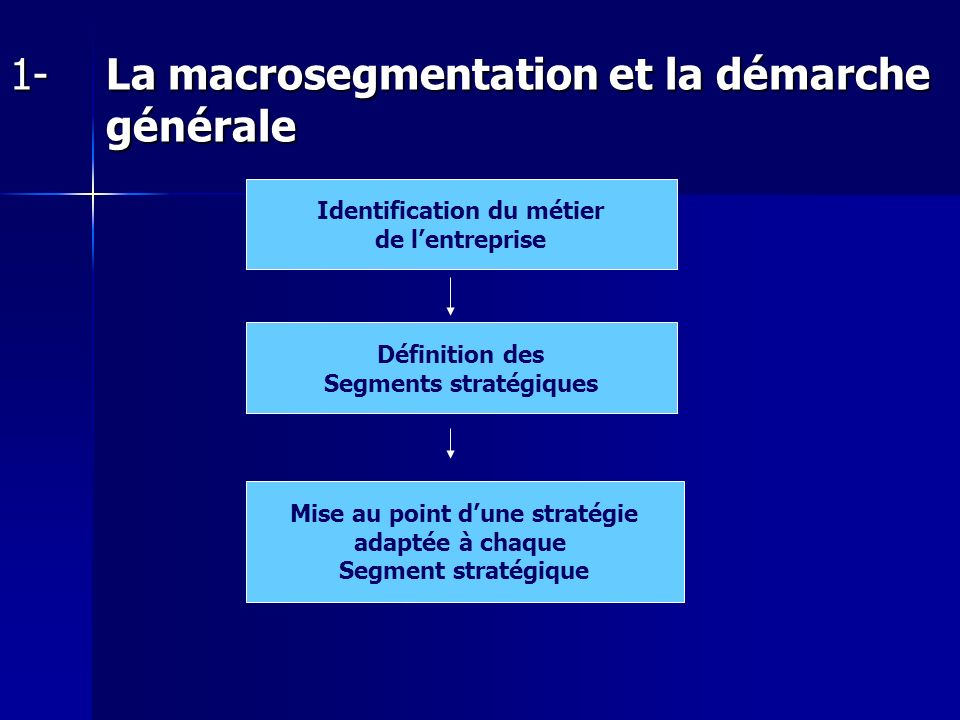 1- La macrosegmentation et la démarche générale