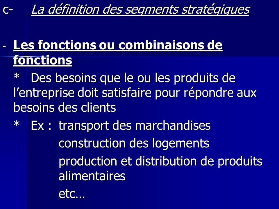 c- La définition des segments stratégiques