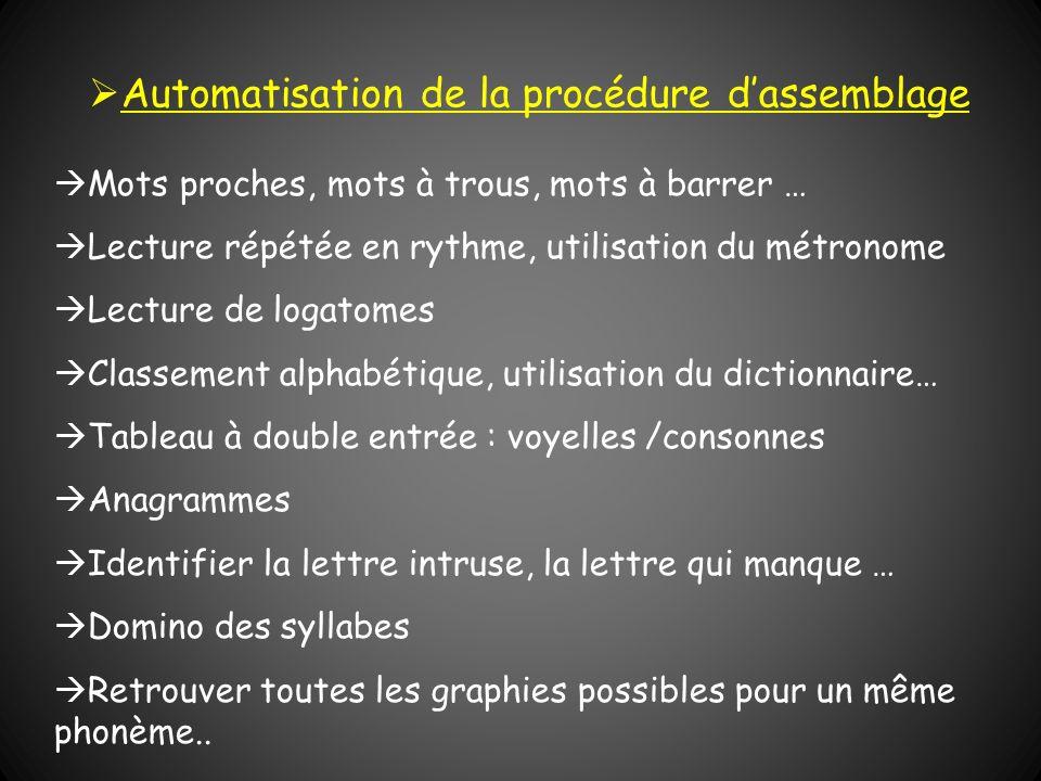 Automatisation de la procédure d'assemblage